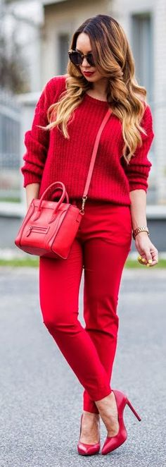 All Red Everything Outfit Idea by Cashmere In Style