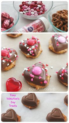 Easy Valentine's Day Treats...pretzels, chocolate hearts, m&m's and confetti sprinkles