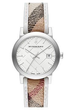 Burberry Round Leather Piping Check Strap Watch, 34mm available at #Nordstrom