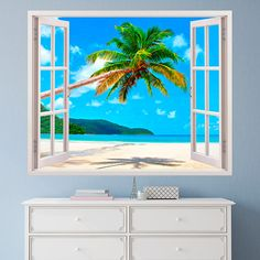 Vinilos Decorativos: Palmera en playa caribeña