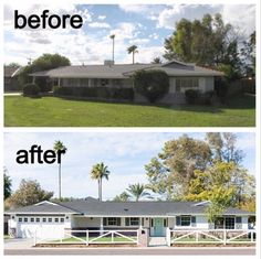 home renovation exterior Home Exterior Makeover, Exterior Remodel, Home Renovation, Home Remodeling, Front Porch Addition, Front Yard Fence, Ranch Style Homes, The Ranch, Curb Appeal