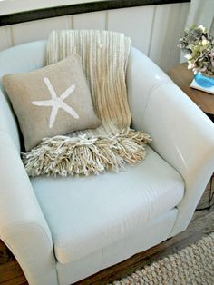 Starfish Burlap Pillow Cover - Starfish Decorations, Beach Cottage, Summer Party Decor. $18.50, via Etsy.