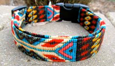 Faux beaded Navajo Spirit dog collar in colorful southwestern design with turquoise, red and golden yellow