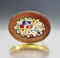Victorian Goldstone Pietra Dura Micro Mosaic Brooch  #Victorian #Antique #Brooch #Gold #Muff #Pink #Stud #Hobe #Stacking #Czech
