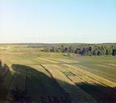 Borodino, Utitskii forest and the field, view from the bell tower of the church. This is where the famous battle of Borodino took place in September 7, 1812. Photo taken by Prokudin-Gorsky in 1911