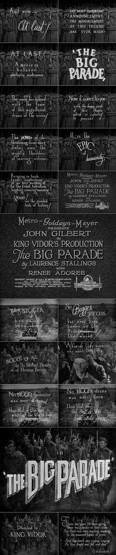 The Big Parade (1925) trailer typography – the Movie title stills collection ✇ 'THE BIG PARADE' (1925), directed by King Vidor, starring John Gilbert, Renée Adorée, Karl Dane, Tom O'Brien
