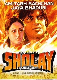 Sholay (1975), Amitabh Bachchan, Classic, Indian, Hand Painted, Bollywood…