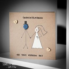 Your Wedding Day Greeting Card Button Pictures - Hochzeitstag Wedding Cards Handmade, Handmade Gift Tags, Diy Birthday Gifts For Dad, Birthday Cards, Button Cards, 1 Button, Diy Crafts For Home Decor, Cool Paper Crafts, Karten Diy