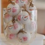A centerpiece of snowmen -- must go on my short list for this year! This site is one of the best for cute and beautiful ornaments to make for Christmas   50 Ornaments You Can Make For Christmas