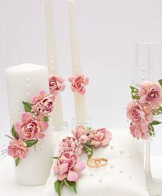Wedding Set of Ceremony Bridal Candles and Wedding by DashaWedding Unity Candle, Candle Lanterns, Diy Candles, Wedding Sets, Wedding Cards, Wedding Flutes, Wedding Pillows, Handmade Wedding, Candle Making