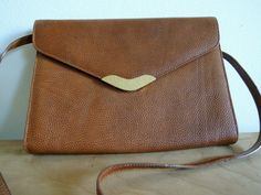 Brown Leather Vintage 70s Crossbody Bag with Gold by altastyles, $25.00