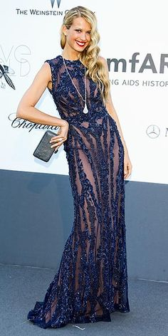 PETRA NEMCOVA in a sparkly navy Elie Saab gown with a Chopard drop necklace (totaling over 100 carats) and rocks a bold red lip.