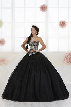 Fiesta Quinceanera 56359 This classic sweetheart neckline ball gown features a Basque waistline and gorgeous decorative lace on the bodice. This look is complete w Sweet 16 Dresses, Sweet Dress, 15 Dresses, Fashion Dresses, Formal Dresses, Fashion Fashion, Black Quinceanera Dresses, Black Wedding Dresses, Quinceanera Party
