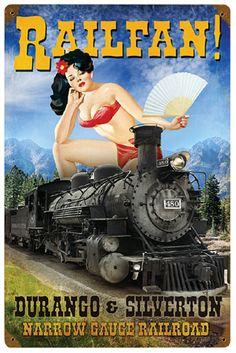 Railfan! Pin-up Metal Sign