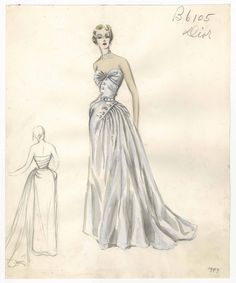 Bergdorf Goodman sketches: Dior 1947-1949. 1947-1949. The Metropolitan Museum of Art, New York. Costume Institute. #outfitoftheday #musthaves | Dressing up can be so fun.