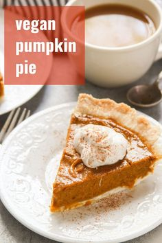 Vegan Pumpkin Pie The best pumpkin pie you ever ate, and it just happens to be vegan! This luscious pie is rich, custardy, and packed with pumpkin spice flavor. A must for your holiday table. Best Pumpkin Pie, Vegan Pumpkin Pie, Pumpkin Pie Recipes, Pumpkin Spice, Dairy Free Pumpkin Pie, Vegan Treats, Vegan Foods, Vegan Thanksgiving, Vegan Dessert Recipes