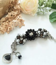 Earring Bracelet Black Grey Silver  , Cluster Earring Beaded Bracelet  , Reclaimed Upcycled Vintage Jewelry by VintageRedo
