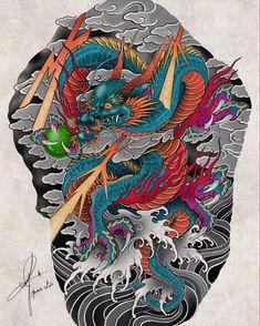 Japanese Mask Tattoo, Japanese Dragon Tattoos, Japanese Tattoo Designs, Dragon Tattoo Back Piece, Back Tattoo, Oni Mask Tattoo, Sak Yant Tattoo, Mens Shoulder Tattoo, Japanese Drawings