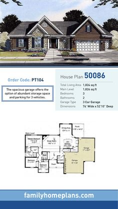 Ranch House Plan 50086 | Total Living Area: 1,824 SQ FT, 3 bedrooms and 2 bathrooms. The spacious garage offers the option of abundant storage space and parking for 3 vehicles. #ranchhome