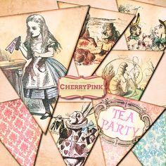 ALICE in WONDERLAND BUNTING decorations by CherryPinkPrints