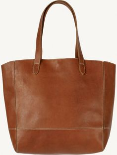 Large Shaped Leather Tote Bag (Tan)