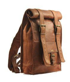 Men's Leather Vintage Backpack Shoulder Bag Messenger Bag Rucksack Sling Bag #Handmade #Backpack