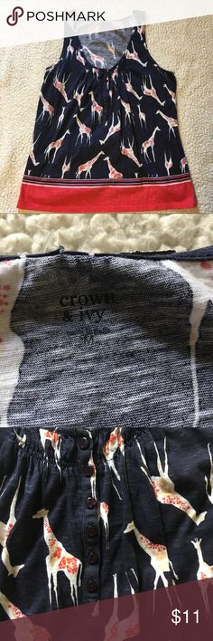 Crown and Ivy Medium Tank Giraffe M Cute tank top with a flowey fit. It has giraffes on it with a contrasting blue and orange color. Could pair it with a cardigan Or blazer for the change of seasons. Great condition. crown & ivy Tops Tank Tops