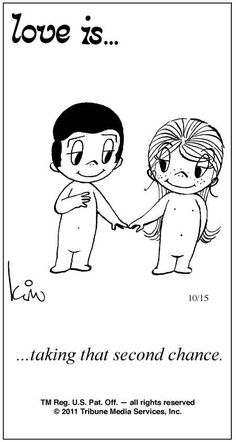 """""""love is... taking that second chance"""" comic strip by Kim Grove Casali"""