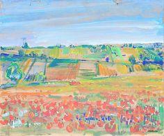 """""""Pejzaż z makami"""" / """"Landscape with poppies"""" 43x35 cm"""