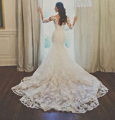 Nuevos Media Manga Sirena white/ivory Con Apliques De Encaje Vestidos de Novia vestido de novia