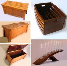 "top left crate and bottom left candle holder are cool.  PS ""Wine Barrel Creations - Bench, Storage Box - Candelabra"""