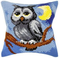 "Night Owl Cushion Front Chunky Cross Stitch Kit 16"" x 16"" (40cm x 40cm). This cushion front kit contains needle, full colour printed Zweigart canvas, chart and acrylic yarns. This kit is worked using a full cross stitch. Chunky Cross Stitch. Price approx. £20 © Orchidea"