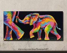 Elefante pintura acrílico s / lienzo 48cmH x 98cmW