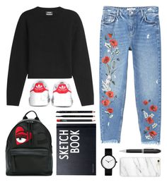 back-to-school ✏ by orangve on Polyvore featuring moda, Anthony Vaccarello, MANGO, adidas, Chiara Ferragni, Gucci, NARS Cosmetics, Design Letters and TrackR