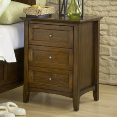 Modern Shaker Truffle Three-Drawer Solid Mahogany Nightstand | Overstock.com Shopping - The Best Deals on Nightstands