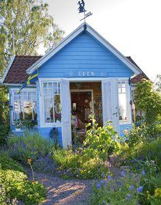Pretty blue garden house
