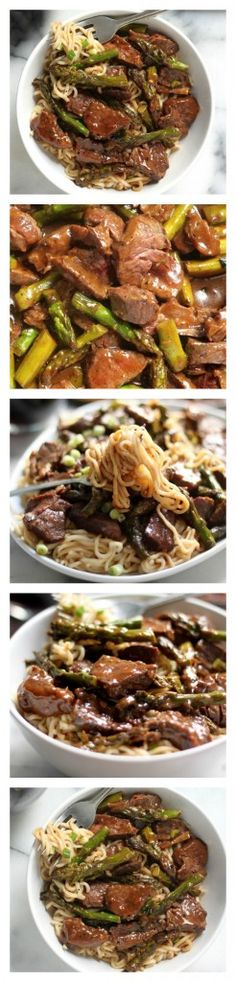 Steak and Asparagus Teriyaki Ramen - Steak and asparagus get simmered in a homemade teriyaki sauce and served over oodles of ramen noodles! This is a family favorite!