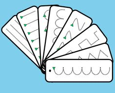 Eight strips with simple pencil skills activities on each one. Includes zigzags, straight lines, circles etc. Small green triangles denote starting point and direction. Laminate and put on a key ring or split pin for a take home/on the go activity that can be used with a dry wipe marker