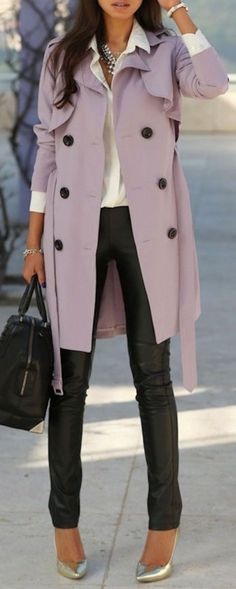 13 Stylish Spring Trench Coats | Lavender Trench Coat