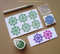 islamic art geometric arabic stamp carving block - ختم نقوش إسلامية