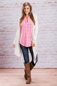 This cardigan is so simple yet so amazing! The gray color and soft material will have you wanting to wear this one over and over again. :) So, it's a good thing the soft gray just about matches everything! The fit of this cardigan is amazing, not to mention the long length is right on trend! Literally throw this over a simple tank or tee and you are ready to go!