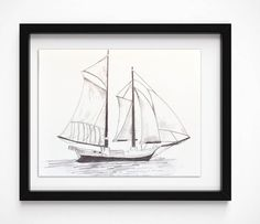 Sailboat drawing, #Nautical pencil sketch, Boat print, original art sketch, #Boat #illustration, black and White Print, #Graphite drawing