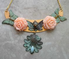 Butterfly Angel w Pink Roses Brass Patina by Sassysteampunk