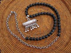 Obsidian and Silver Hirz Necklace OOAK Ethnic by StoneandStem  #bohochic #amulet #talisman #handmade #etsy #gyspyjewelry #prayerbox