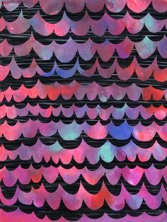 WAVES - Purple Art Print  by Schatzi Brown