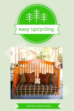 DIY Veranda Swing From A Crib: Einfache Upcycling - Upcycled Crafts Repurposed Furniture, New Furniture, Nursery Furniture, Reclaimed Furniture, Upcycled Crafts, Crib Makeover, Crib Swing, Old Cribs, Diy Crib