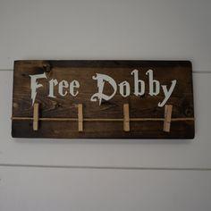 Free Dobby the House Elf Sock holder, Laundry Room Odd Sock Hanger, Save Dobby, Harry Potter House Elves, Single Socks, found socks by OzarkFarmhouse on Etsy https://www.etsy.com/listing/466740515/free-dobby-the-house-elf-sock-holder