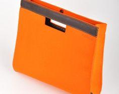 """Arancione Felt portafoglio cartella-""""Oscar"""". Originale, bella e unica. Realizzata naturale (100% lana) feltro di qualità premium 3 mm di spe"""