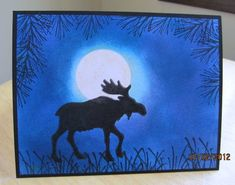 dw Blue Evening Moose by deb_loves_stamping - Cards and Paper Crafts at Splitcoaststampers