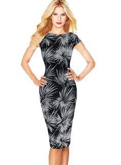 Women's Elegant Leaf Print Wear To Work Business Casual Fit Pencil Dress:Summer Fashion: Spring Outfits:Casual Outfits:Cute Outfits: Summer Outfits: Spring Outfits:Spring Outfits:Summer Dress